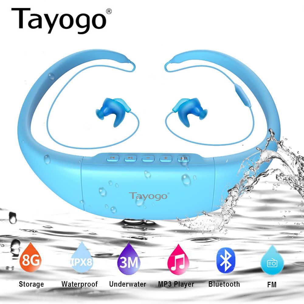Tayogo W11 ワイヤレス Bluetooth 防水 MP3 プレーヤーヘッドホンスポーツ水泳ハイファイ Mp3 Fm Bluetooth の歩数計のための水泳