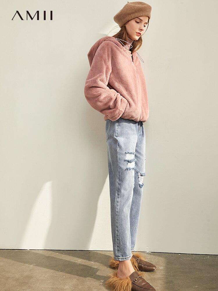 Amii Minimalist Hole Jeans Autumn Women Casual High Waist Zipper Slim Fit Female Straight Pants 11940622