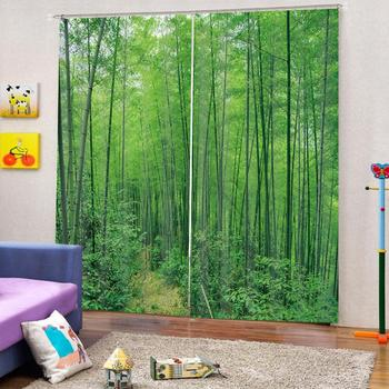 green bamboo curtains Luxury Blackout 3D Window Curtains For Living Room Bedroom Customized size Blackout curtain