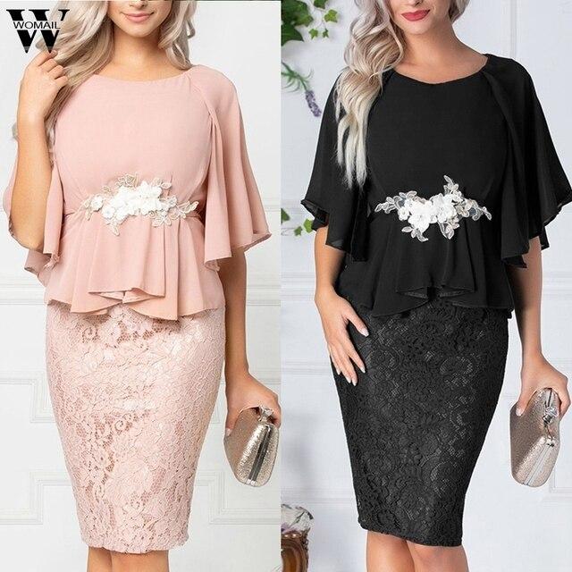 Womail Dress Women Elegant Lace Chiffon Dress office summer short Bell Sleeve Plus Size Dress Appliqued Evening Vestidos Party