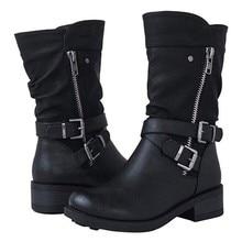 2019 botas de motocicleta para mujer botas de Otoño de combate Vintage Punk Goth botas de mujer motociclista de cuero Pu botas cortas # J30