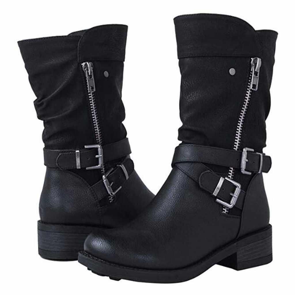2019 motosiklet çizmeler bayanlar Vintage savaş sonbahar çizmeler Punk Goth kadın botları kadın Biker Pu deri kısa çizmeler # J30