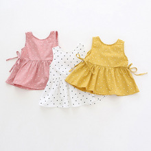 Платье для девочек милое платье без рукавов Детское платье из чистого хлопка в Корейском стиле