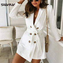 SWYIVY 2019 Autumn Women Trench Coat Long Sleeve Double Breasted Solid Bandage W