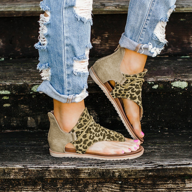2020 Top seller – Women sandals Leopard Pattern Large Size Rome Sandals Women's Anti-slip Hot Selling Wedges Summer shoes