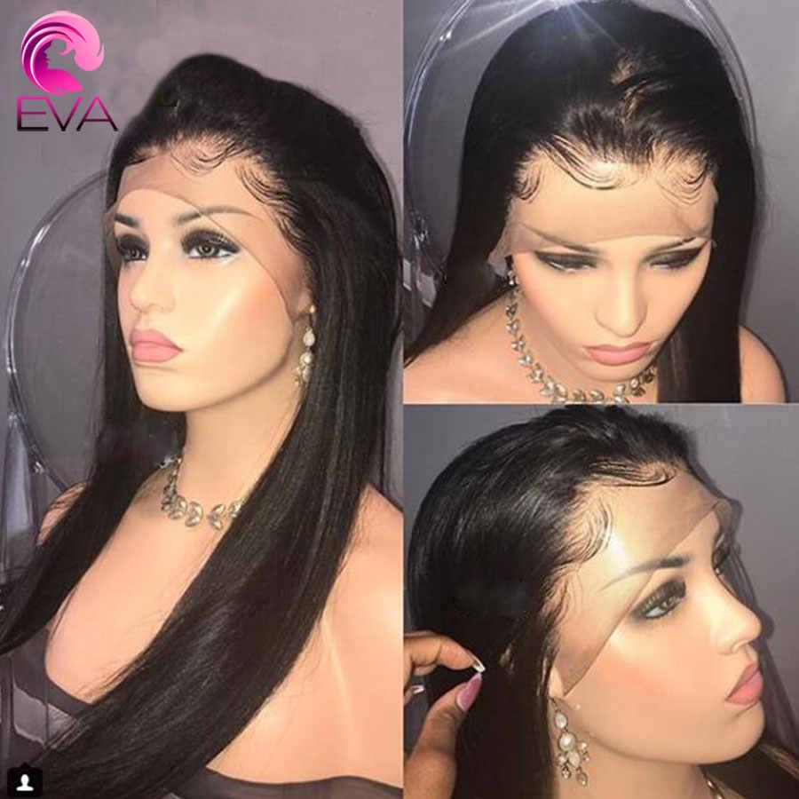 Eva recta 360 pelucas de cabello humano Frontal de encaje Pre desplumado con pelo de bebé pelucas de cabello Remy brasileño nudos blanqueados para las mujeres negras