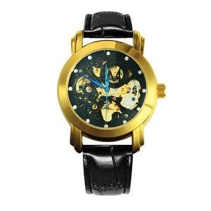 Image 3 - 勝者公式シンプルなカジュアル自動腕時計メンズスケルトン機械式メンズ腕時計トップブランドの高級革ストラップファッション時計