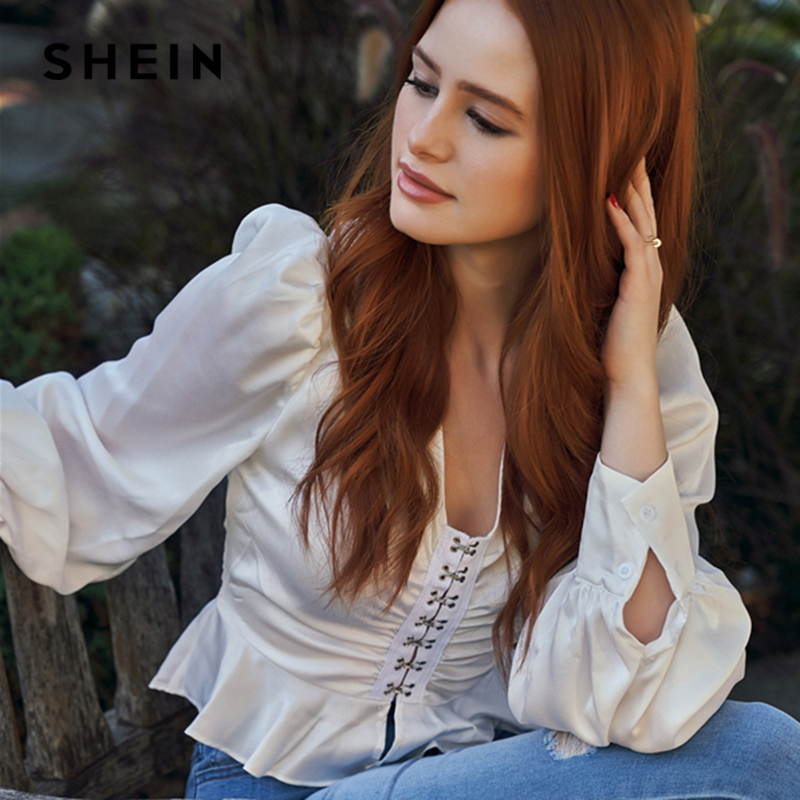 SHEIN X Madelaine White V Neck Hook And Eye Front Peplum Blouse Women Tops Autumn Lantern Sleeve Ladies Elegant Flared Blouses