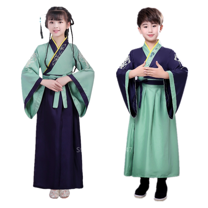 100-160CM Children Ancient Chinese Costume For Kids Traditional Girl Boy Student Embroidery Hanfu Folk Dress Dance Tang Suit