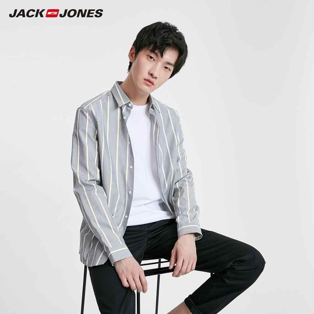 JackJones Мужская Весенняя Повседневная рубашка из 100% хлопка с контрастными полосками мужская одежда   219105514