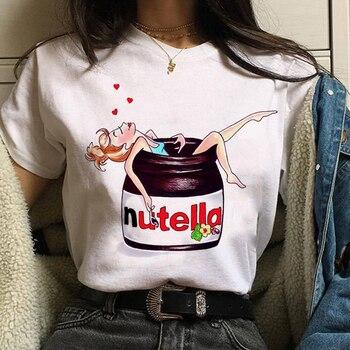 Kawaii Nutella Print T-Shirt 90s Ullzang Fashion Women's t-shirts Harajuku Summer Women's sweatshirt Tee Tops Oversized T-shirts 1