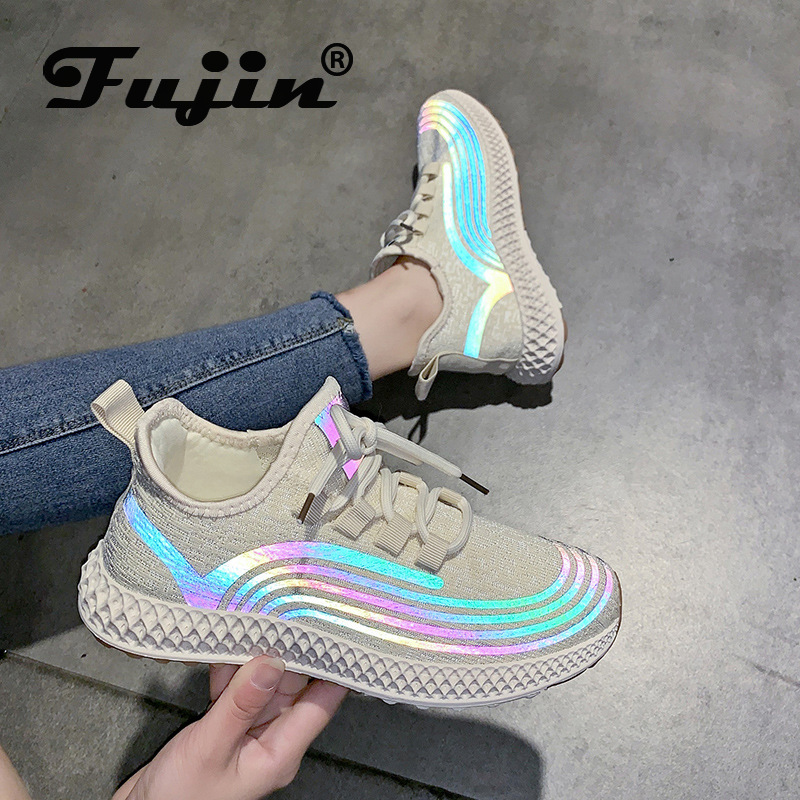 Fujin 2020 Women Sneakers Night Reflective Breathable Knit Comfortable Soft Flats Shoes Women Spring Autumn Summer Shoes