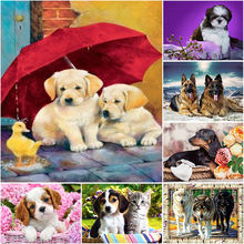 Diy dog 5d diamond painting full round drill mosaic animal embroidery