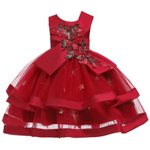 Girls Dress Embroidery Cake Tutu Birthday Evening Party Ball Gown Kids Dresses For Girl Elegant Princess Dress Children Clothing 2019 lace embroidery dress kids dresses for girl princess autumn winter party ball gown children clothing wear dress for girls