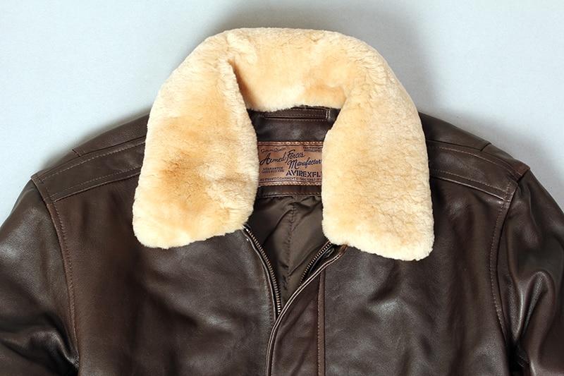 Ha2f393243a0942a4bfda18efec453228U Military air force flight jacket fur collar genuine leather jacket men winter dark brown sheepskin coat pilot bomber jacket