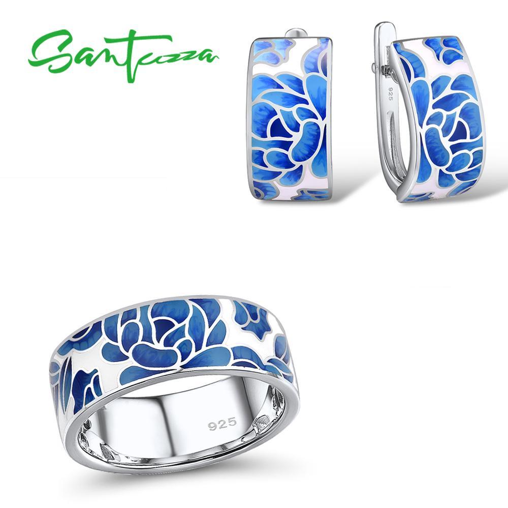 SANTUZZA Silver Jewelry Set For Women Pure 925 Sterling Silver Blue Flower Enamel Earrings Ring Set Trendy Fine Jewelry Handmade