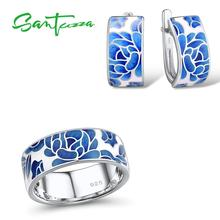 SANTUZZA Silver Jewelry Set for Women Pure 925 Sterling Silver Blue Flower Enamel Earrings Ring Set Trendy Fine Jewelry Handmade цена и фото