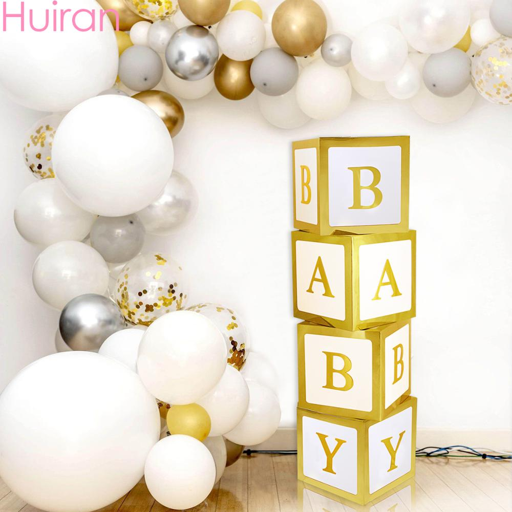 HUIRAN Golden BABY Box Baby Shower Girl Boy Favors Props One 1 Year First 1st Birthday Decor Party Supplies Gifts Babyshower