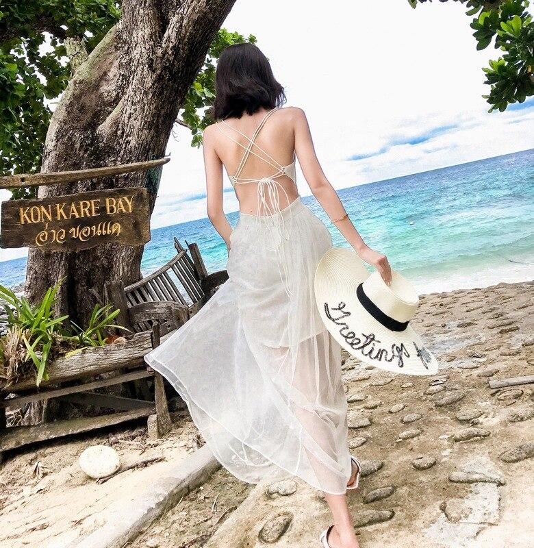 2018 New Style Dress Thailand Seaside Vacation Style WOMEN'S Dress Slimming Backless Beach Long Skirts Sexy Light Wedding Dress