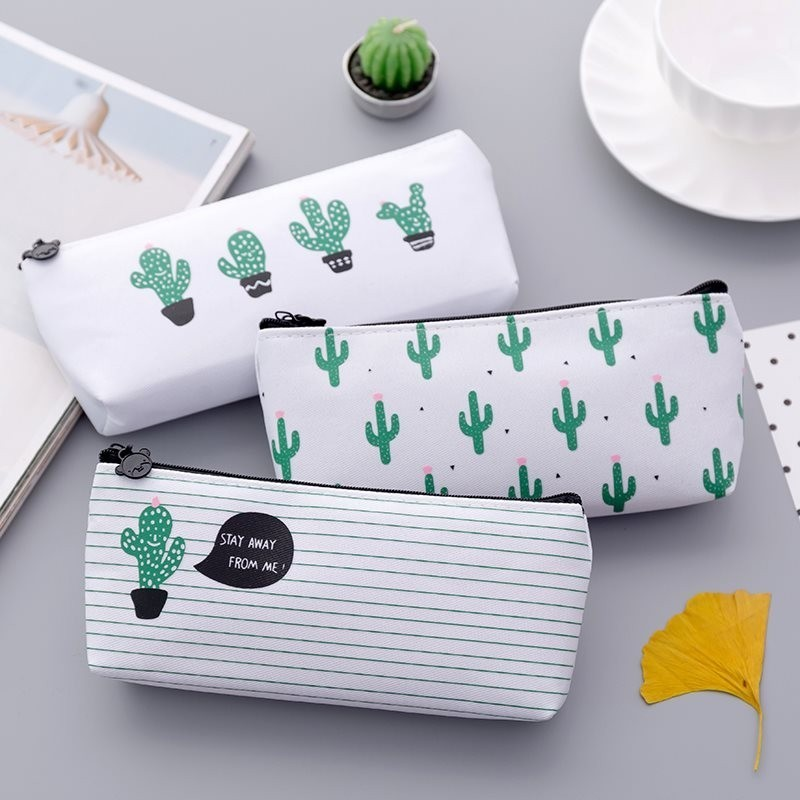 Creative Kawaii Canvas Pencil Cases Girls Flower Cactus Birds Pen Case Students Pen Bag School Stationery Supplies 050023