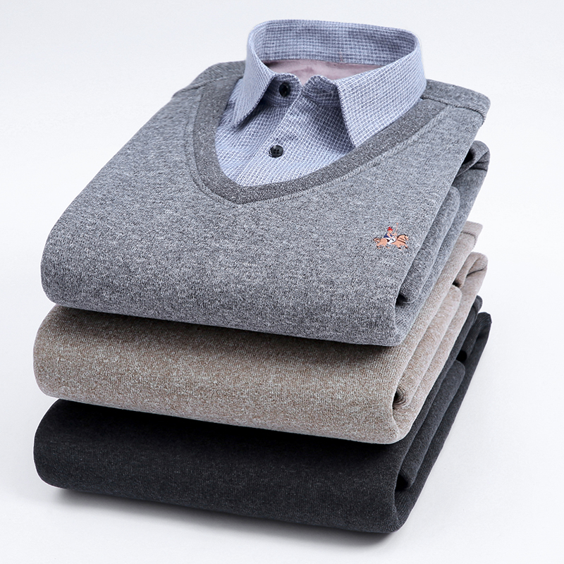 Aoliwen men Cardigan sweater Shirt collar combination High quality wool Plus velvet thick winter cardigan long sleeve shirt
