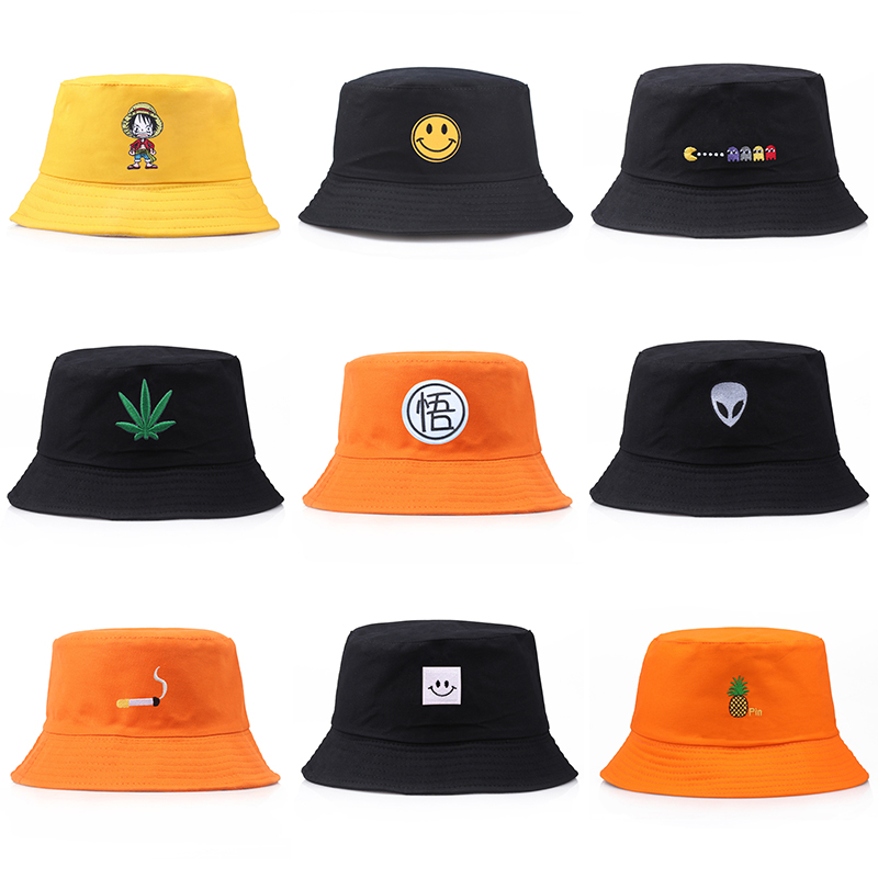 Luffy Smiley AlienBucket Hat Set Unisex Foldable Embroidery Cap Hip Hop Gorros Men Summer Caps Women Panama Fishing Bucket Hat