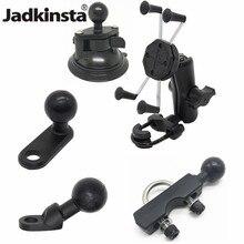 Jadkinsta X גריפ הר מחזיק מתכוונן אופנוע מראה אחורית הר כידון עם 6cm כפול שקע זרוע עבור gopro טלפון