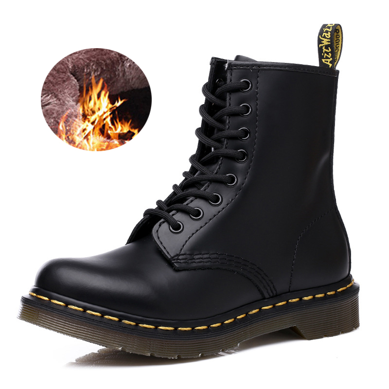 Unisex 2020 Men Boots Women Ankle Boots Genuine Leather Shoes Martin Winter Lace Up Boots Casual Fur Locomotive Work Boot