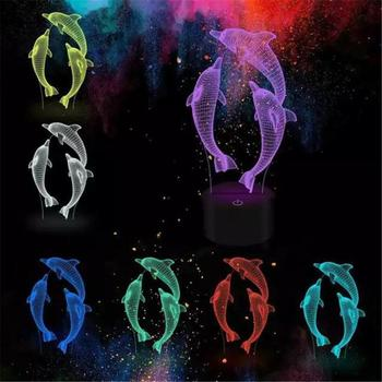 Dolphin 3D LED Night Light Colorful Creative 16 Color Change Remote Acrylic Table Lamp Novelty Atmosphere Light Christmas Gifts remote touch control 3d led night light led table desk lamp dolphin led night light color change 3d led light for kids gift 30