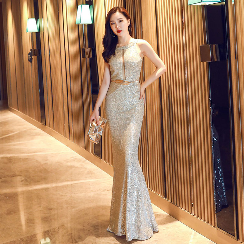 Luxury Gold Sequins Women Slim Dresses Fashion Sexy O-Neck Sleeveless Long Mermaid Elegant Formal Celebrity Club Party Dress XL image