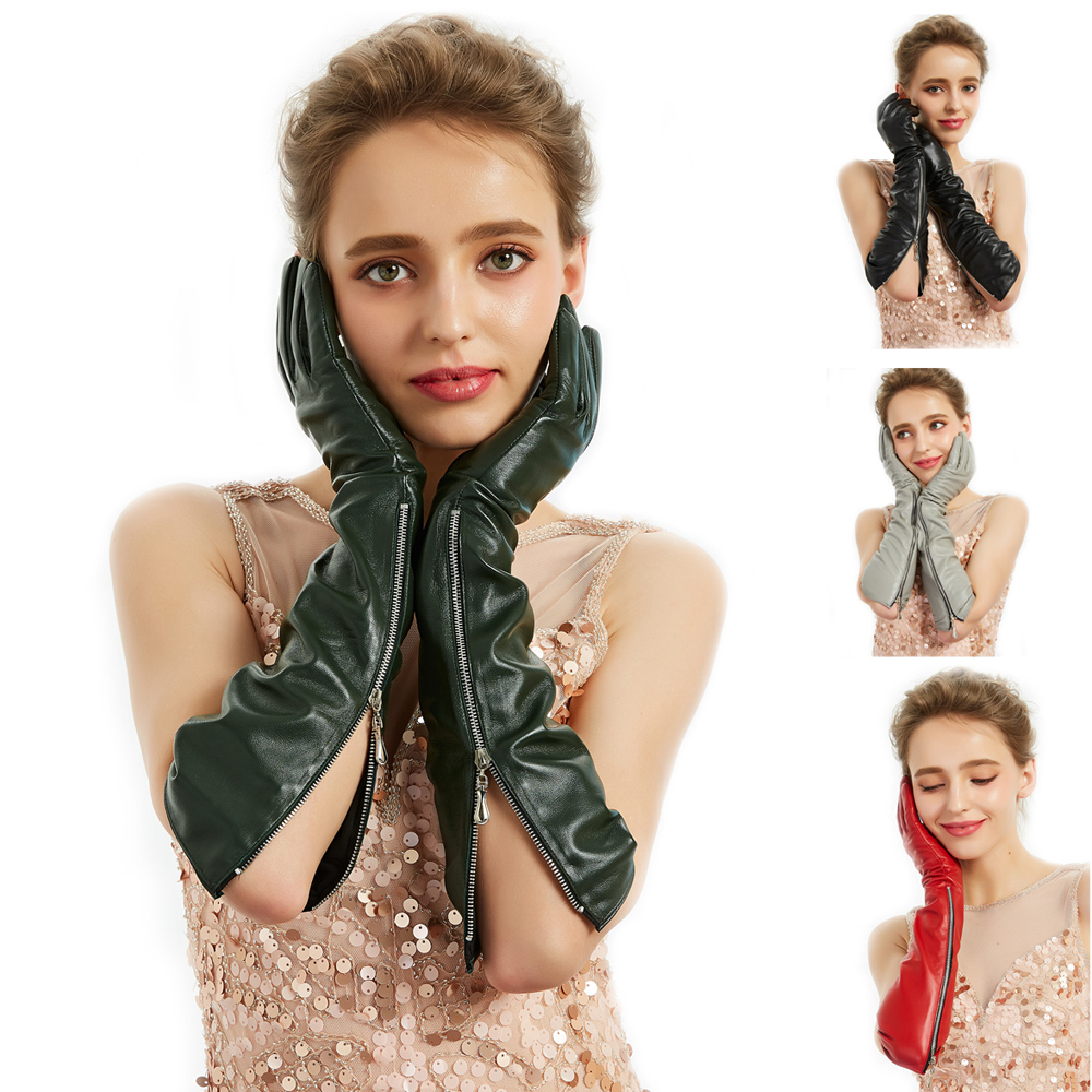 Women  Real Sheep Leather New Side Visible Open Zipper Long Gloves