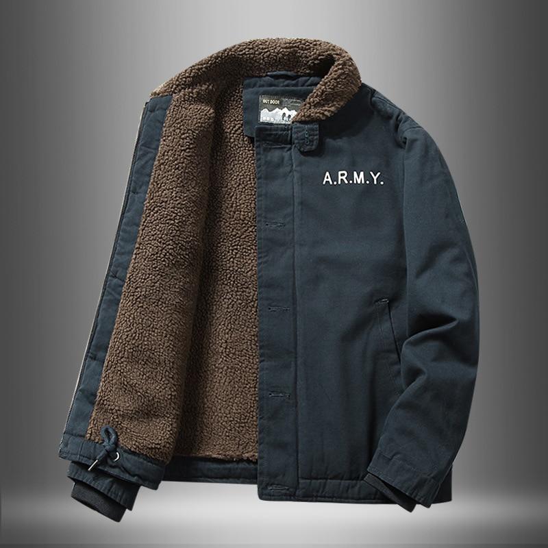 Jacket Men Imitated Lamb Fur Short Jacket Men Winter Thick Fur Collar Plus Fleece Tooling Bomber Jacket Cotton Jacket Clothes Jackets  - AliExpress