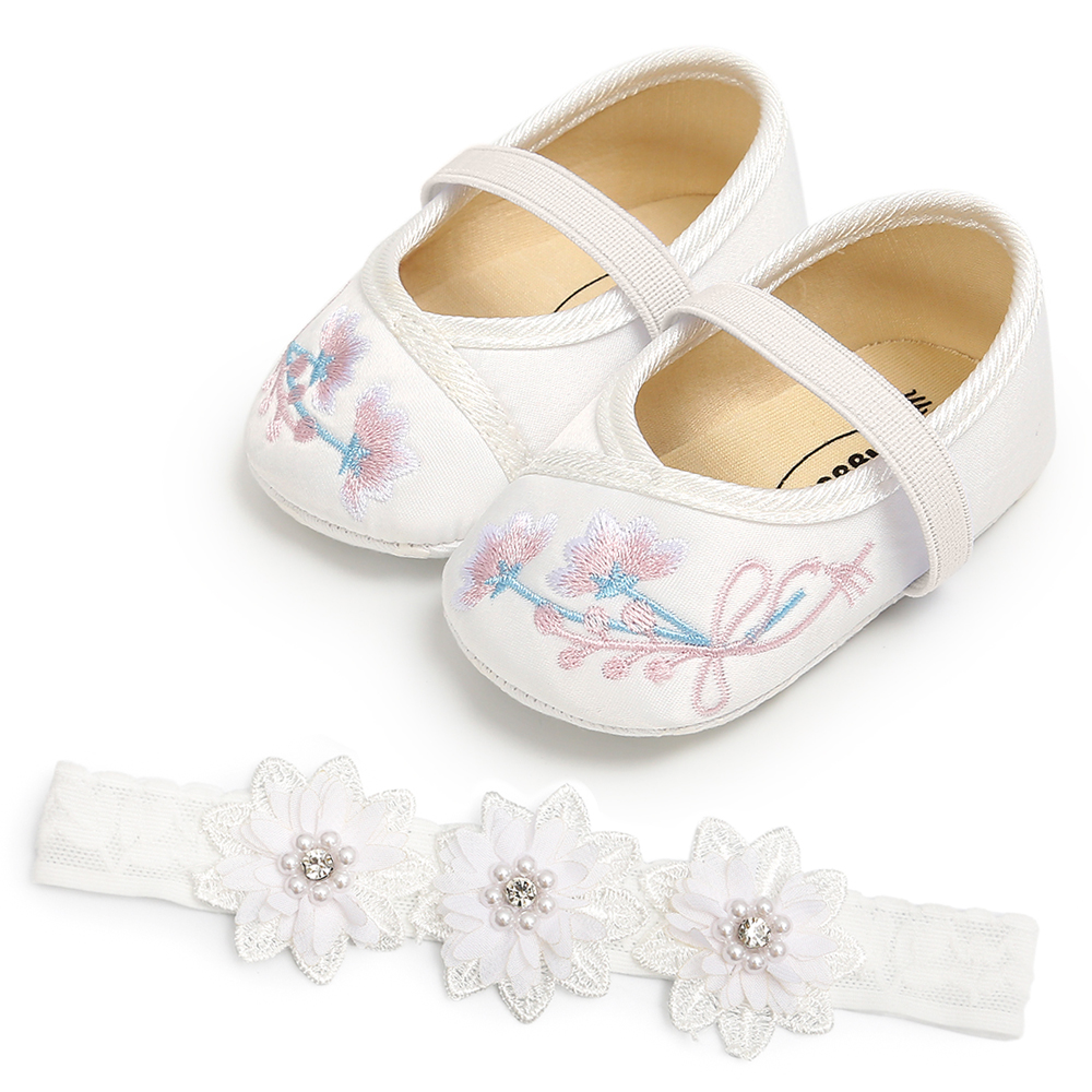 Floral Pattern Baby Girl Shoes Embroidery Baby Girls Princess Shoes With Lace Flower Headwear Headband Baby Shoes