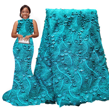 Teal green 3d flower sequin lace fabric embroidery african lace fabric 2020 french tulle net lace fabrics for wedding dresses
