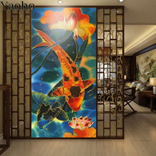 Chinese Koi Fish Lotus diamond embroidery full kit 5 d Diamond Mosaic 100% square round drill painting sale home art