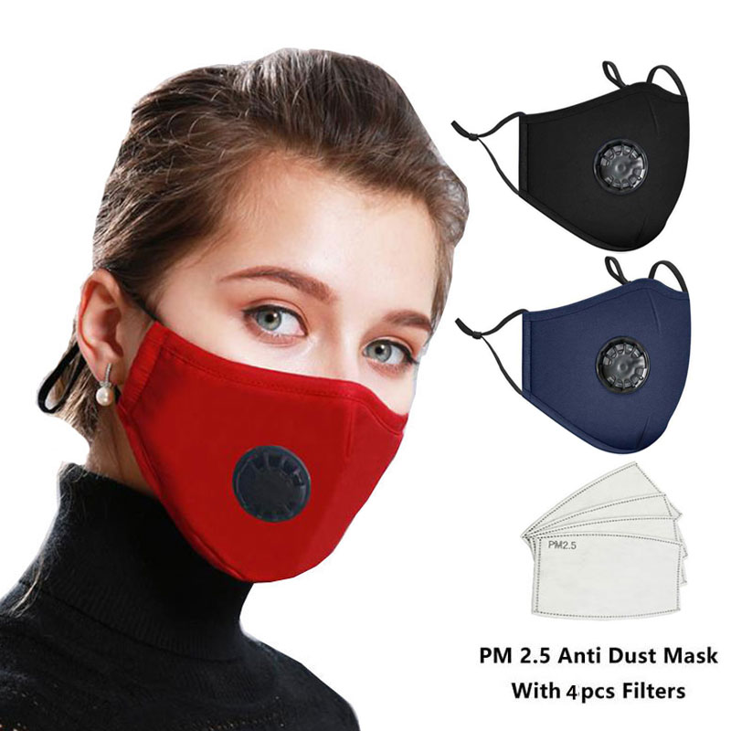 Anti PM2.5 Cotton Anti Haze Anti-dust Mask 4pcs Activated Carbon Filter Respirator Black Mouth-muffle Mask With Valve And Filter