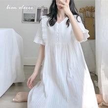 Nightgown-Sleepwear Nightdress Princess Nightie Summer Women Lolita-Dress Comfortable Cotton Sleepshirts Embroidered Vintage