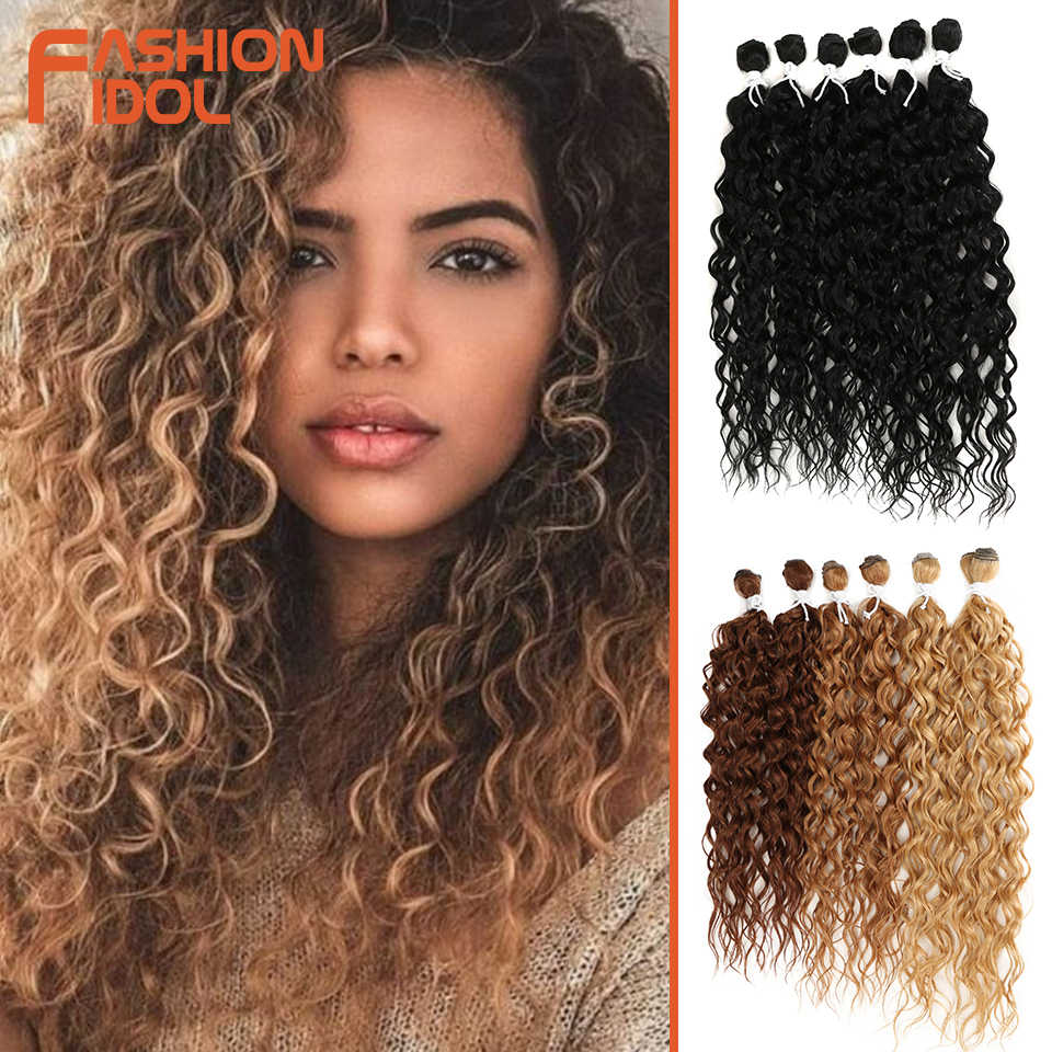 FASHION IDOL Synthetic Hair Extensions Afro Kinky Curly Hair Bundles Ombre Blonde 24-28inch 6 Pcs Heat Resistant For Black Women