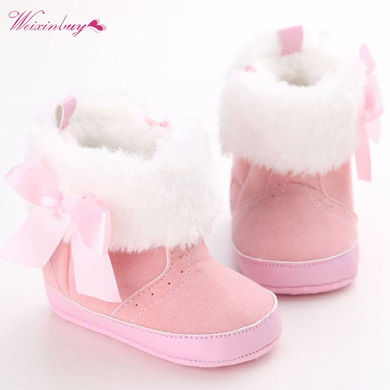 Winter Baby Shoes Newborn Infant Bowknot Fleece Snow Boots Toddler Warm Booties  Moccasins TQ