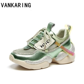 women chunky sneakers vulcanize shoes korean fashion new female green beige platform thick sole running casual shoes woman flats