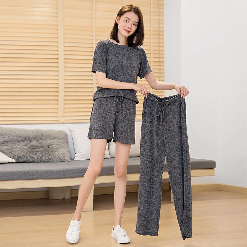 Elastic Spandex Pajamas Set Women Big Size Casual Pyjama Female Summer Cool Cotton Sleepwear Long Pants Shirt Shorts Homewear