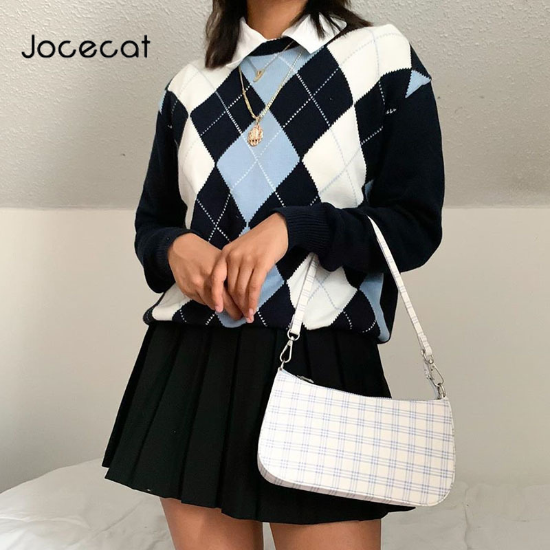 Jocecat Argyle Plaid Knitted Long Sleeve Casual Sweater For Women Preppy Style ONeck 90s Jumpers Autumn Winter Fashion Knitwear