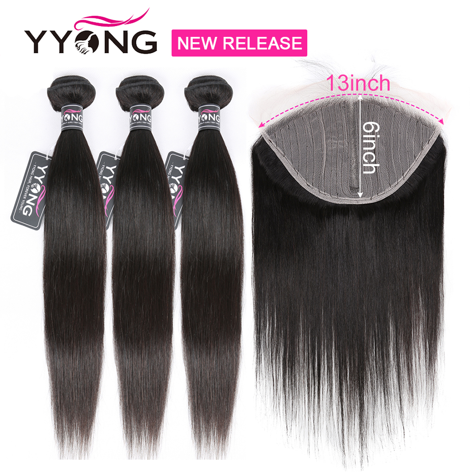 YYong T Part 13X1+ 6X1 Lace Cosure With Bundles,   Straight  Bundles With Closure Half Handtied 1
