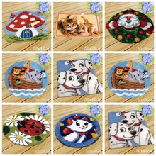 Cat Dog Latch Hook Cushion Animals Carpet Embroidery Needlework Crochet Pillows Accessories DIY Rug Kit Cross Stitch