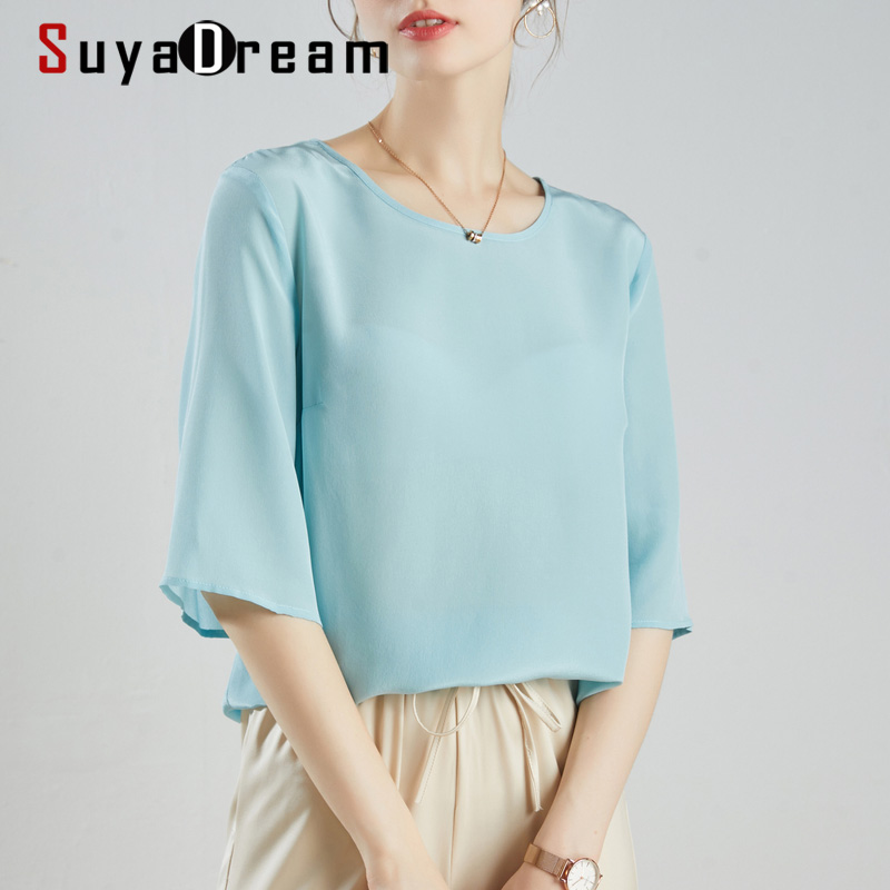 SUYADREAM Women Blouses 100% REAL SILK Crepe O Neck 3/4 Sleeved Solid Office Lady Blouse Shirt 2020 Spring Summer Shirt