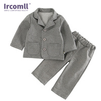 Ircomll Toddle Boy Suit Outfits Set 2pcs Turndown Collar Gray Gentleman Coat+Pants Trousers for Kids Boys Clotheing sets 1 4Y