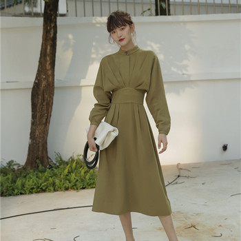Women Vintage french style A-line Party Long Dress Long Sleeve O neck Solid Elegant Casual Dress spring New Fashion Dress new arrival summer casual sleeveless solid women a line dress elegant simple o neck ruffles striped mini dress party dress 9166