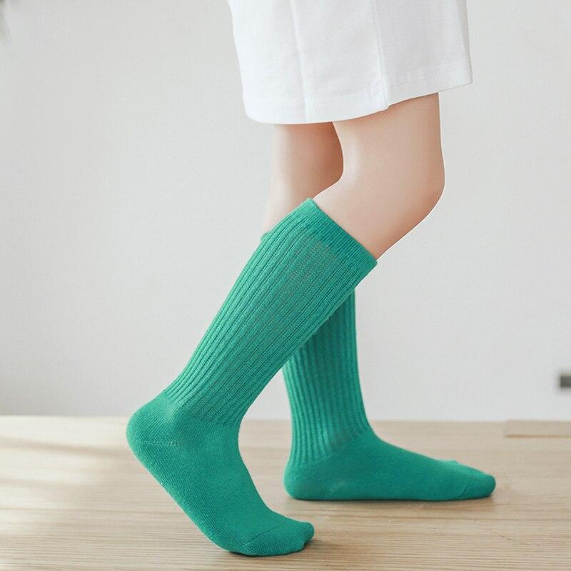 New Spring Summer Baby Girls Cotton Knee High Socks For Kids Long Socks Toddle Double Needle Socks