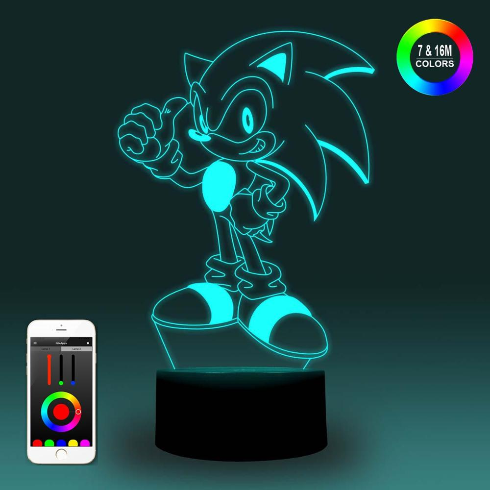 NiteApps 3D Sonic The Hedgedog Night Light Desk Table Illusion Decoration Lamp Holiday Birthday Gift APP/Touch Control
