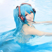 Hatsune Miku Copaly Wig 150cm Halloween Cosplay Hair Accessories Anime Cos Sky Blue Green